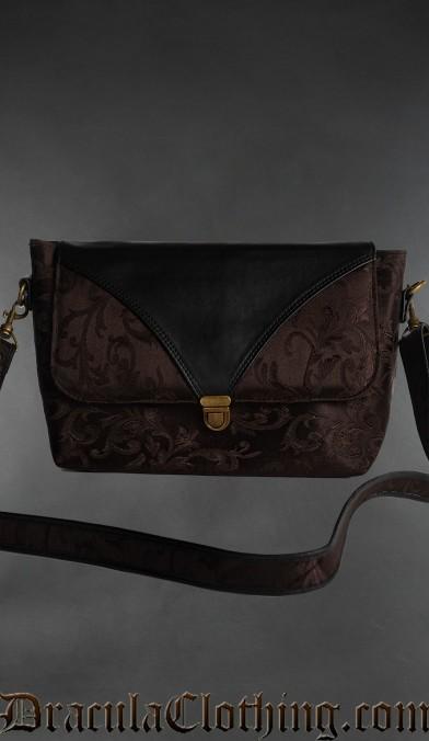 Brown Brocade Shoulder Bag