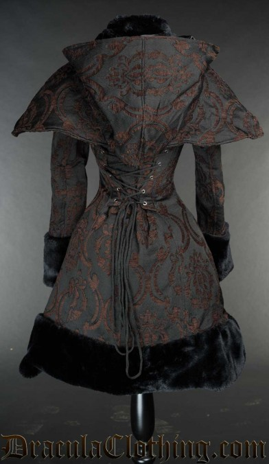 Brown Brocade Thick Winter Coat