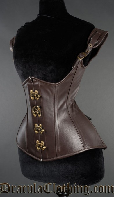 Brown Faux Leather Princess Corset