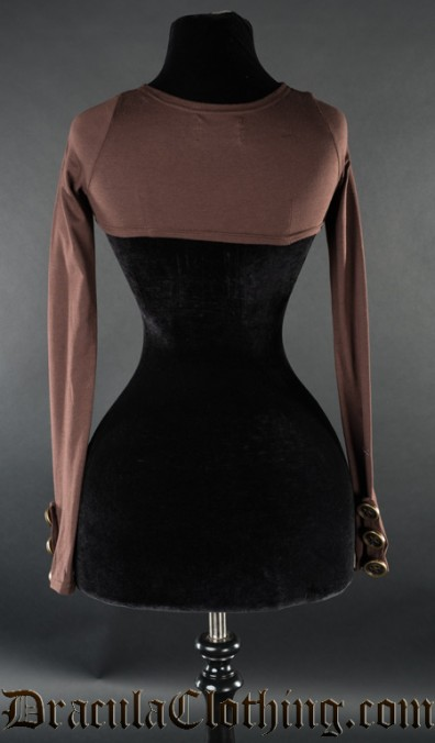 Brown Skinnyfit Button Shrug