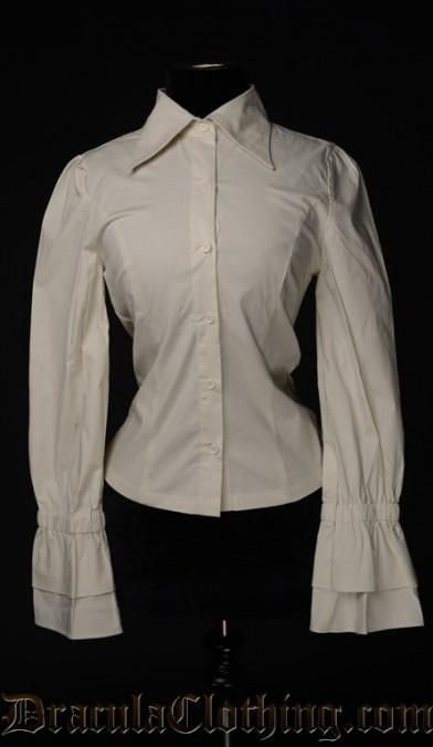 Cream Cotton Elegant Cravat Blouse