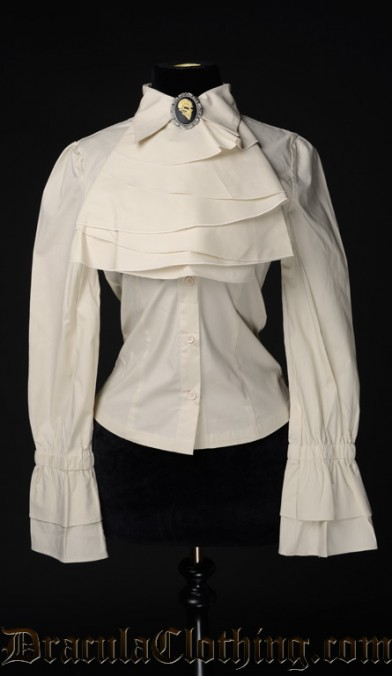 Cream Cotton Elegant Cravat Blouse