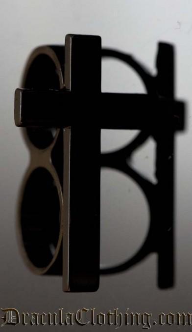Black Cross Two Finger Ring