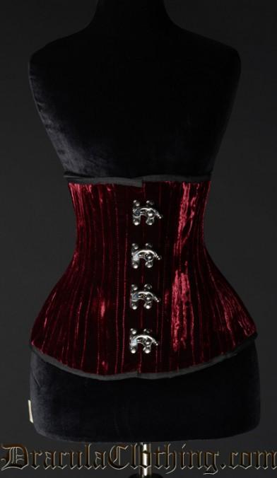 Double Boned Red Velvet Corset