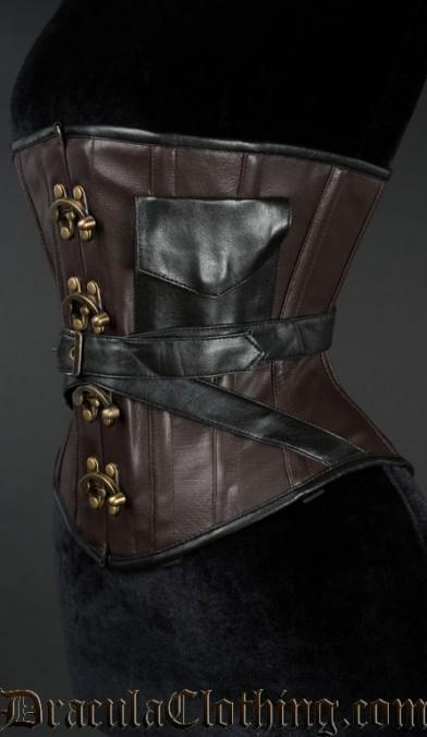 Faux Leather Pocket Clasp Corset