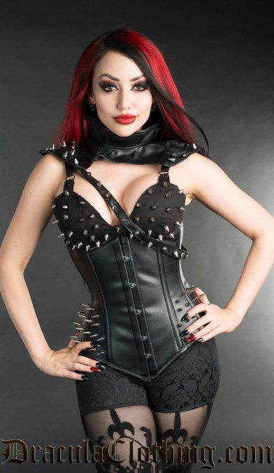 Faux Leather Spiked Corset