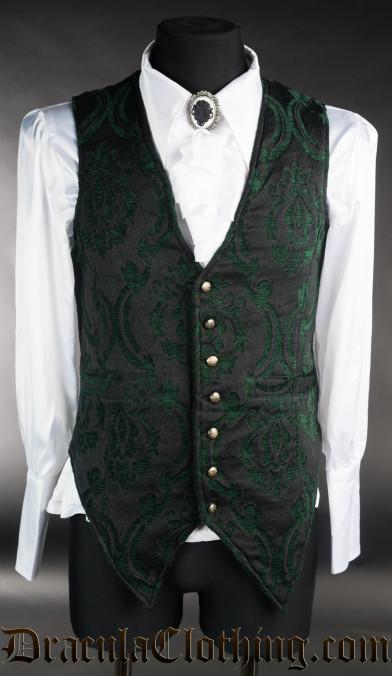 Green Brocade Long Vest