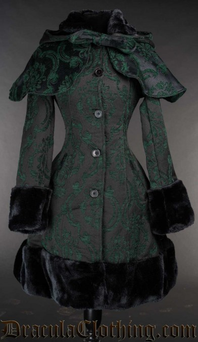 Green Brocade Thick Winter Coat
