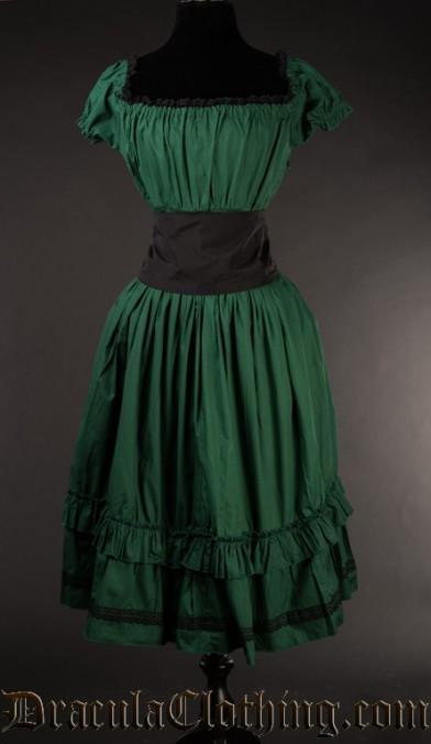 Green Cotton Gothabilly Dress