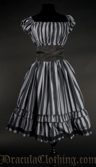 Grey Striped Gothabilly Dress