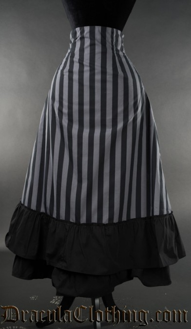 Grey Striped Two Layer Bustle Skirt