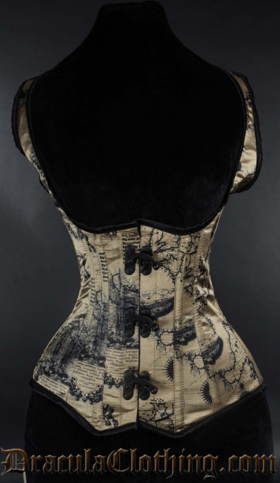 Map Shoulder Black Clasp Corset