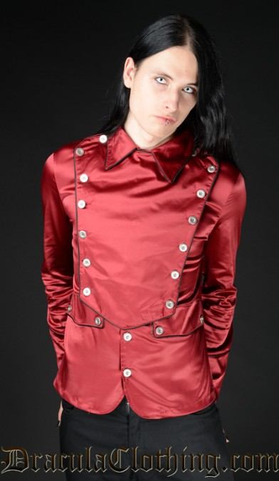 Red Satin Military Shirt