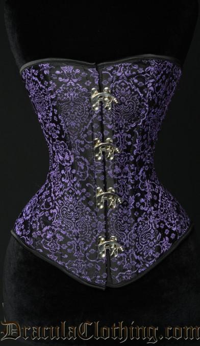 Purple Jacquard Clasp Overbust