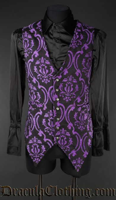Purple Brocade Long Vest