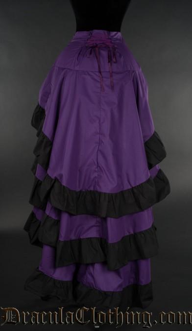 Purple Cotton Layer Bustle Skirt