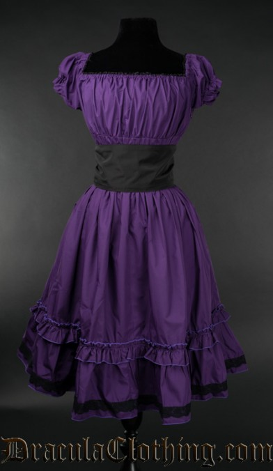 Purple Cotton Gothabilly Dress