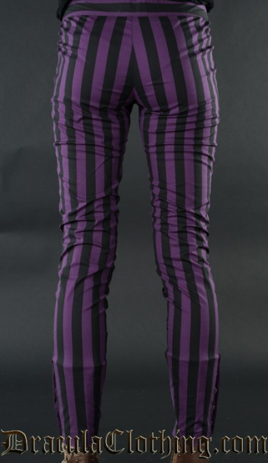 Purple Striped Five Button Pants