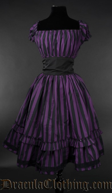 Purple Striped Gothabilly Dress