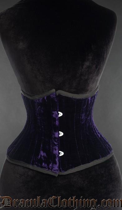 Purple Velvet Double Boned Waist Cincher