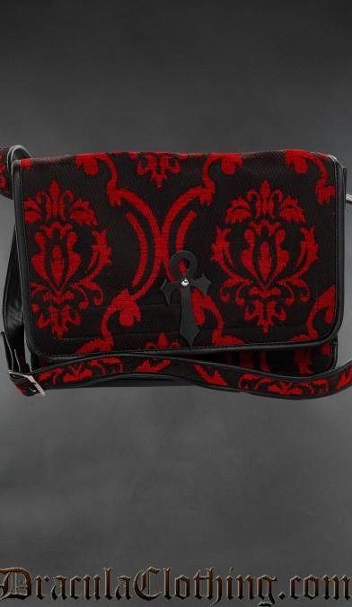 Red Brocade Ankh Shoulder Bag