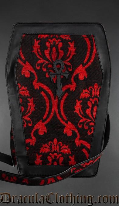 Red Brocade Big Ankh Coffin Bag