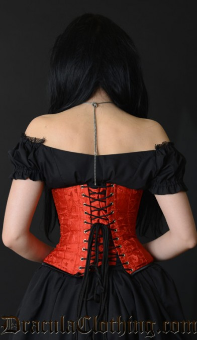 Red Brocade Clasp Corset