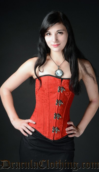 Red Brocade Clasp Overbust