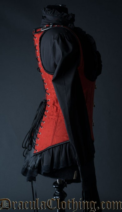 Red Brocade Shoulder Clasp Corset