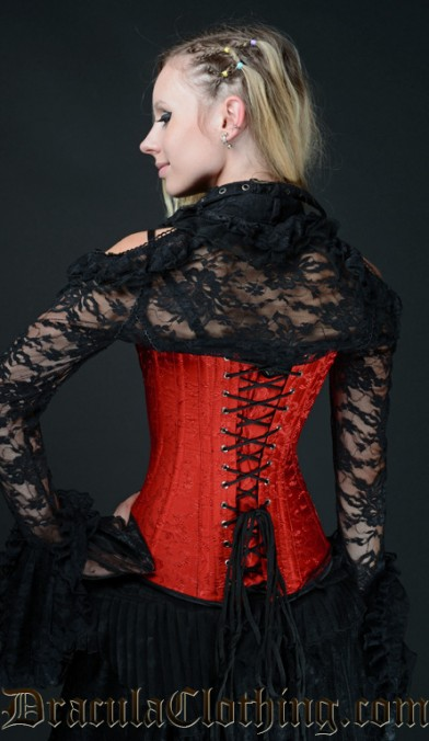 Red Brocade Cleavage Corset