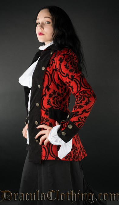Crimson Brocade Female Pirate Jacket