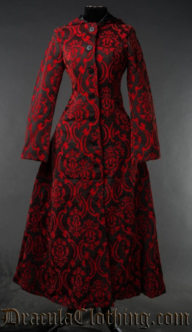 Red Brocade Hooded Coat