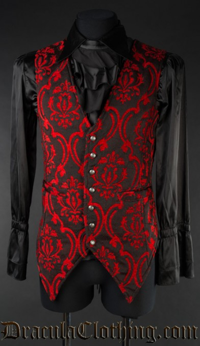 Red Brocade Long Vest