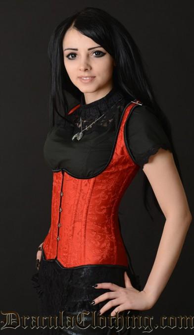 Red Brocade Shoulder Corset