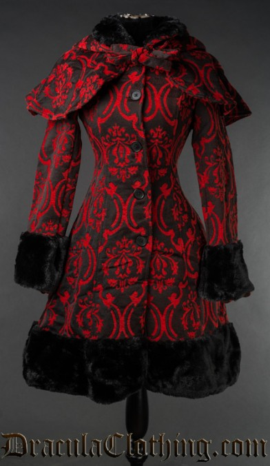 Red Brocade Thick Winter Coat - Fleece Lining