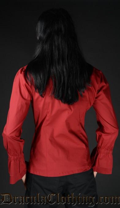 Red Cotton Ruffle Shirt