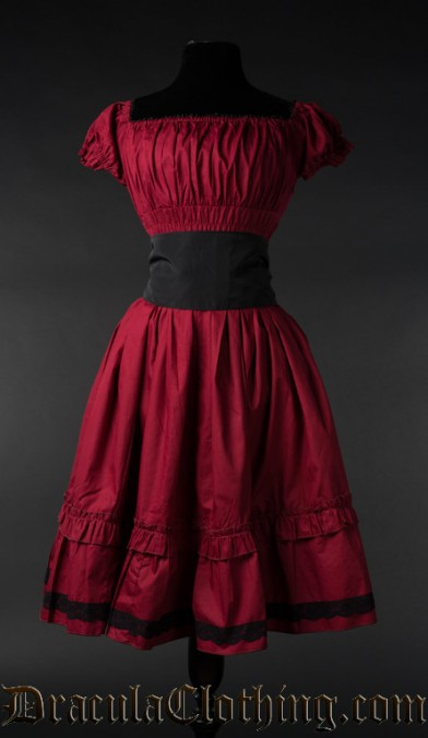 Red Cotton Gothabilly Dress
