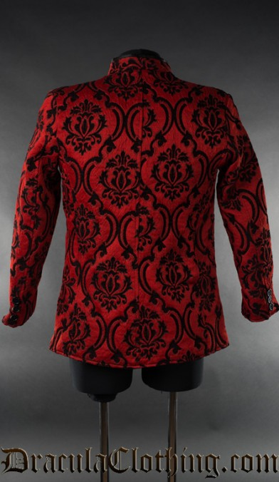 Red Jacquard Nehru Jacket