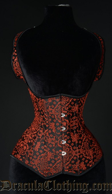 Red Jacquard Shoulder Corset