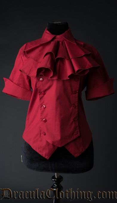 Red Cotton Panel Cravat Blouse