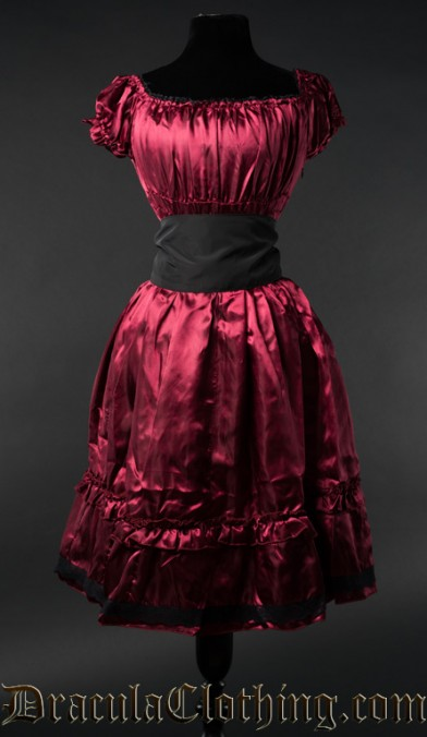 Red Satin Gothabilly Dress