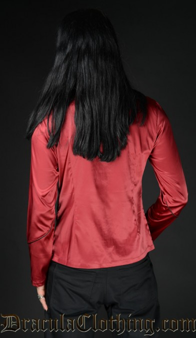 Red Satin Military Shirt