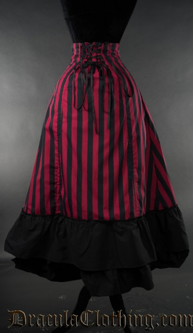 Red Striped Two Layer Bustle Skirt