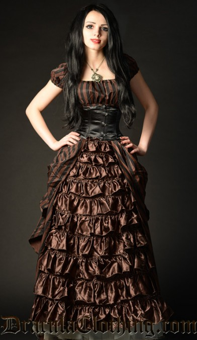 Steampunk Striped Victorian Dress