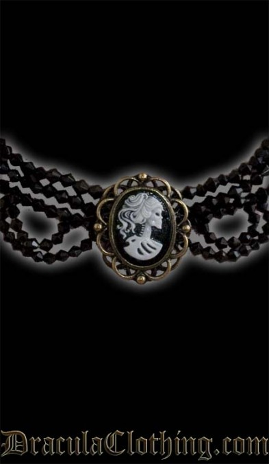 Skeleton Lady Cameo Necklace