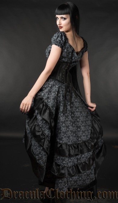 Skull Brocade Layer Bustle Skirt