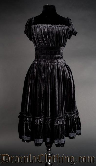 Black Velvet Gothabilly Dress