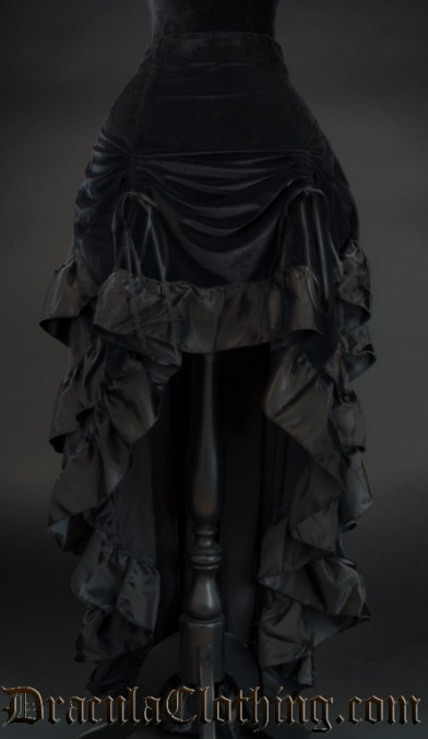 Black Velvet Layer Bustle Skirt