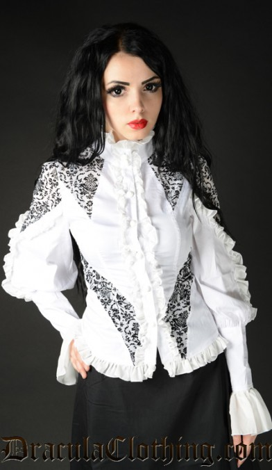 White Brocade Blouse