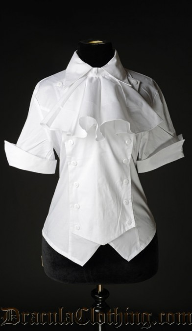 White Cotton Panel Cravat Blouse